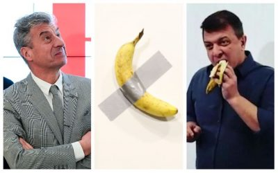 Eating Cattelan's banana